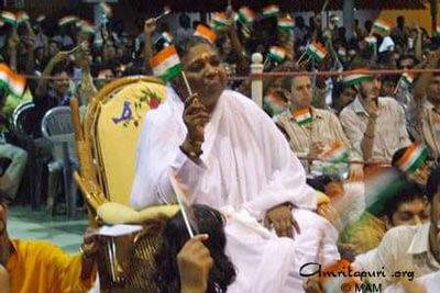 Amma waving India flag